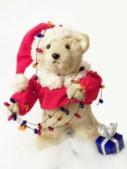 Santa Bear w/lights & Present