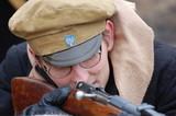 student soldier,civil war in Russia reenaction - 1918 poster