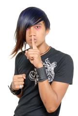 Hushing Asian teen punker.