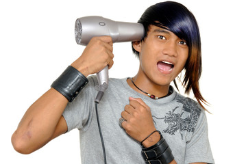 Asian emo teen commits suicide with a hair drier.