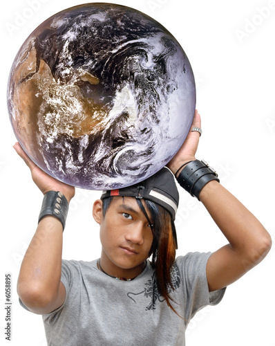 Asian emo or punk teen throwing the globe.
