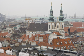 Skyline of Vienna from the cathedral roof