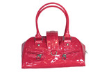 red handbag isolated on white (contains clipping path) poster