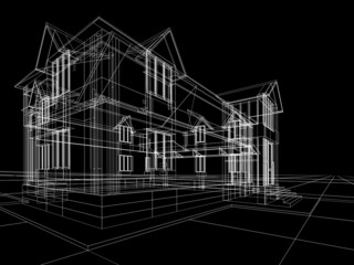 3D rendering wire-frame of house. Black background.