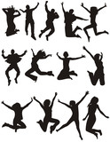 Fototapety vector young people jumping