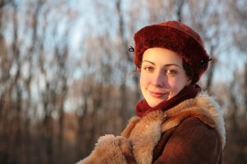 portrait pretty woman outdoor in winter