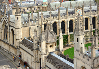 Aerial view of All Souls College, Oxford University