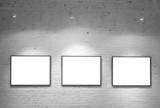Fototapety three frames on brick white wall