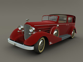 The 3D beautiful red ancient american car (1933 phaeton)