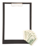 empty clipboard with us dollar for your finance messages poster