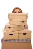moving house concept with lots of cardboards poster