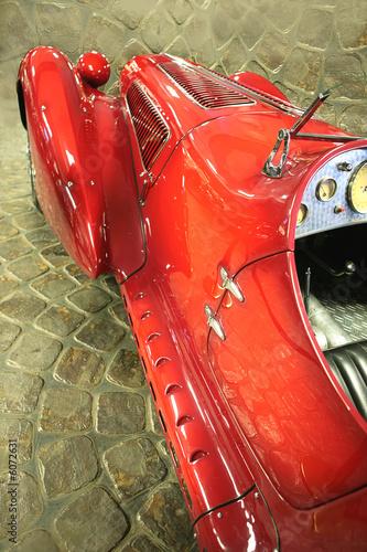 Old-time red sport car, vintage