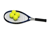 Tennis rackets and four  balls isolated on white