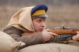 student soldier,civil war in Russia reenacting - 1918 poster