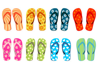 Beach sandals. Colorful flip-flops over white background
