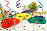 Masks with confetti, streamers and party hats poster