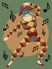Musical masked man with flute dancing notes poster style