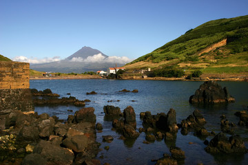 azores view of Porto Pim in Faial Island