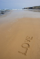 love on the wet sand at the beach