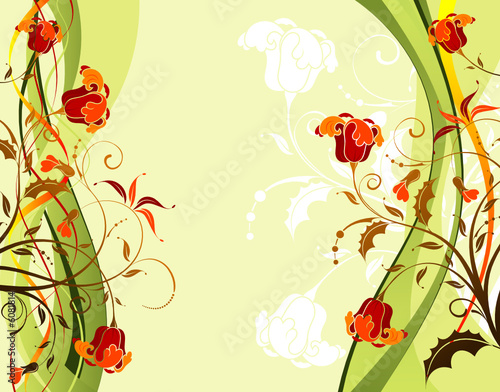 Flower background with waves pattern, design, vector