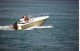 Yellow Outboard Motor Boat poster
