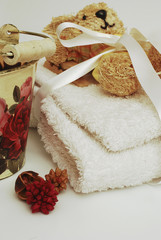 Towels assortment for bathroom or wellness therapy isolated