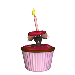 A mouse poking his head and arms out of a red/pink cupcake