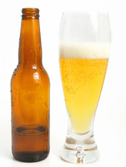 glass of beer and bottle over white background