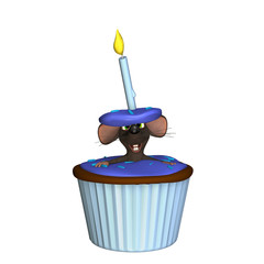 A mouse poking his head and arms out of a blue cupcake