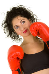 Pretty woman with red boxing gloves