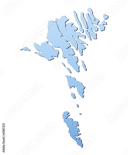 Faroe Islands map filled with light blue gradient
