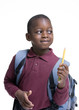 An african american student ready for school. Education,