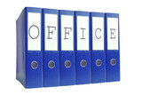 Blue ring binders spelling Office word isolated on white poster