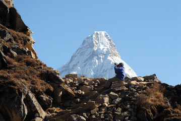 Ama Dablam with a photographer