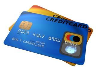 gelbe und blaue kreditkarte