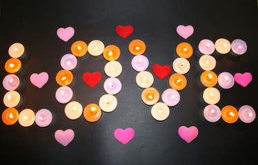 Love hearts and flames