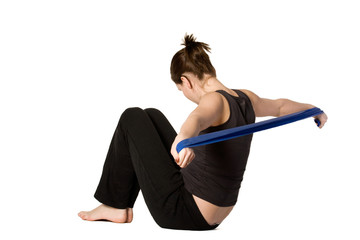 Woman is stretching her arms