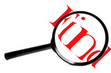 magnifying glass with red find, on white poster
