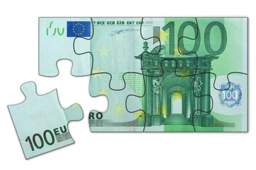 Simple 100 Euro puzzle toy, one piece left to complete