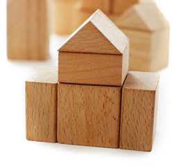The house. Toy habitation from wooden blocks