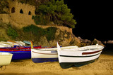 Boat on the night shore. Catalonia, Spain poster