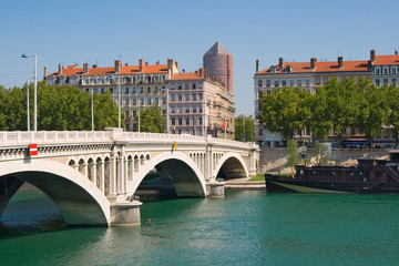 Bridge Wilson above Rhone. Lyon, France.