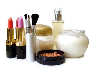 set for make-up (cream, brushes, perfume and lipsticks)