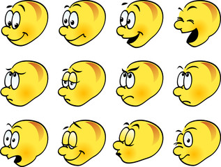 Smilies, icons, funny facial expressions, emoticons. Vector