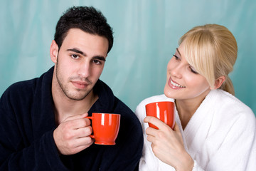 couple with coffee in the morning