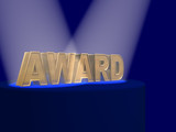The gold 3d letters AWARD covered by projectors poster
