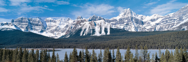 Panoramic view on Rocky mountains in Canada