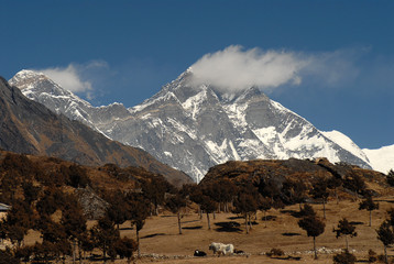Syangboche,Everest and Lhotse, below Royal Yak Farm