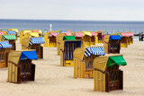 Closed Beach chairs in Germany near Baltic sea poster