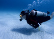Diver over white sand in the Caribbean Sea